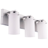 Olmia 3 Light 19 inch Satin Nickel Vanity Light Wall Light, White Glass