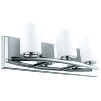Eglo 201713A Abete 3 Light 18 inch Chrome Vanity Light Wall Light, White Glass photo thumbnail