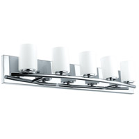 Abete 5 Light 29 inch Chrome Vanity Light Wall Light, White Glass