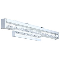 Cardito LED 28 inch Chrome Vanity Light Wall Light, Clear Glass, Clear Crystal Stones