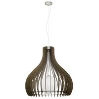 Eglo 201829A Tindori 1 Light 16 inch Pendant Ceiling Light Dark Brown Wood White Glass