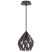 Eglo 202034A Carlton III 1 Light 7 inch Matte Black and Copper Pendant Ceiling Light