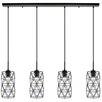 Eglo 202359A Estevau 2 4 Light 41 inch Matte Black Linear Pendant Ceiling Light