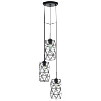 Eglo 202361A Estevau 2 3 Light 13 inch Matte Black Multi Pendant Ceiling Light