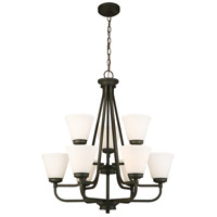 Mayview 9 Light 27 inch Matte Bronze Chandelier Ceiling Light
