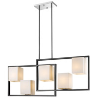 Regis Falls 5 Light 36 inch Black and Chrome Linear Pendant Ceiling Light