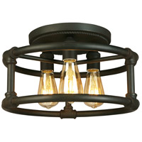 Wymer 3 Light 15 inch Matte Bronze Semi Flush Mount Ceiling Light