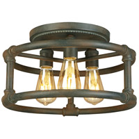 Wymer 3 Light 15 inch Zinc Semi Flush Mount Ceiling Light