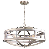 Montrose 4 Light 19 inch Acacia Wood and Brushed Nickel Chandelier Ceiling Light