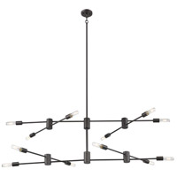 Eglo 203489A Sonora 12 Light 55 inch Bronze Linear Pendant Ceiling Light