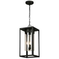 Eglo 203669A Walker Hill 3 Light 9 inch Matte Black Outdoor Pendant