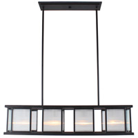 Eglo 203726A Henessy 4 Light 34 inch Black and Brushed Nickel Linear Pendant Ceiling Light