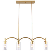 Eglo 203744A Devora 4 Light 37 inch Antique Gold Linear Pendant Ceiling Light
