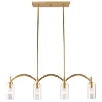 Eglo 203744A Devora 4 Light 37 inch Antique Gold Linear Pendant Ceiling Light