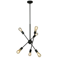 Eglo 203946A Etris Row 6 Light 23 inch Black Pendant Ceiling Light
