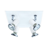 Tamara 4 Light 120V White & Chrome Square Track Light Ceiling Light