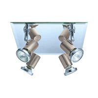 Eglo 31267A Tamara 4 Light 120V Matte Nickel & Chrome Square Track Light Ceiling Light