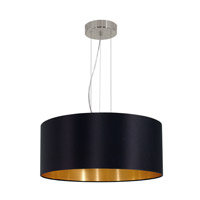 Eglo Maserlo 3 Light Pendant in Satin Nickel with Black and Gold Cloth Shade 31605A