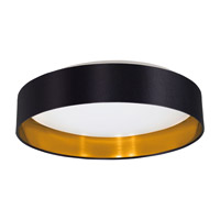 Eglo Maserlo LED 1 Light Flush Mount in Black and Gold with Black and Gold Fabric Shade and White Plastic Shade 31622A