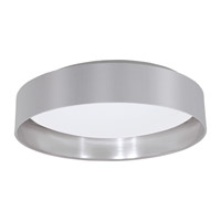 Eglo Maserlo LED 1 Light Flush Mount in Grey and Silver with Grey and Silver Fabric Shade and White Plastic Shade 31623A