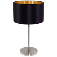 Eglo 31627A Maserlo 16 inch 60 watt Matte Nickel Table Lamp Portable Light, Black and Gold Shade