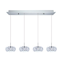 Eglo Corliano LED 4 Light Multi Light Pendant in Chrome with Clear Crystals 39007A