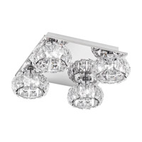 Eglo Corliano LED 4 Light Flush Mount in Chrome with Mirrored Glass and Clear Crystals 39009A