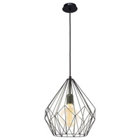 Eglo 49257A Carlton 1 Light 12 inch Black Pendant Ceiling Light