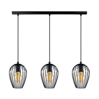 Eglo Newtown 3 Light Multi Light Pendant in Matte Black 49478A