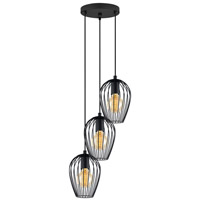 Eglo Newtown 3 Light Multi Light Pendant in Matte Black 49479A