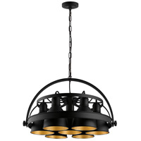 Eglo 49682A Priddy 2 7 Light 21 inch Black with Gold Interior Pendant Ceiling Light