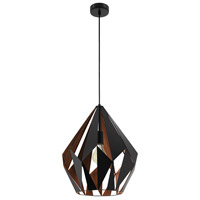 Eglo 49878A Carlton I 1 Light 15 inch Matte Black and Copper Pendant Ceiling Light