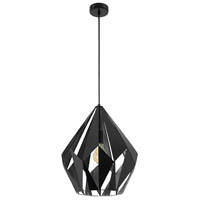 Eglo 49879A Carlton I 1 Light 15 inch Matte Black and Silver Pendant Ceiling Light