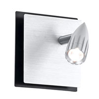 Eglo Penform 1 Light Wall Light in Brushed Aluminum/Black 88348A
