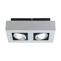 Eglo Loke 2 Light Ceiling Mount in Brushed Aluminum 89076A