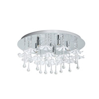 Eglo Ocondo 5 Light Flush Mount in Chrome with Mirrored Glass and Clear Crystals 93053A