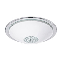 Eglo Giolina LED 1 Light Flush Mount in Chrome with White And Clear Glass and Clear Crystals 93778A