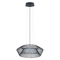 Eglo Piastre LED 1 Light Pendant in Black with White Plastic Shade 93985A