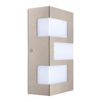 Eglo Ralora LED 3 Light Outdoor Wall Light in Stainless Steel with White Plastic Shade 94086A
