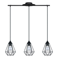 Eglo 94189A Tarbes 3 Light 6 inch Matte Black Multi Light Pendant Ceiling Light