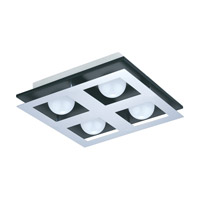 Eglo Bellamonte LED 4 Light Flush Mount in Brushed Aluminum and Black with White Plastic Shade 94233A