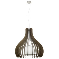 Tindori 1 Light 24 inch Pendant Ceiling Light, Dark Brown Wood, White Glass