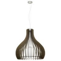 Eglo 96218A Tindori 1 Light 24 inch Pendant Ceiling Light Dark Brown Wood White Glass