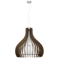 Eglo 96219A Tindori 1 Light 32 inch Pendant Ceiling Light, Dark Brown Wood, White Glass