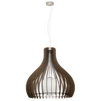 Eglo 96219A Tindori 1 Light 32 inch Pendant Ceiling Light Dark Brown Wood White Glass