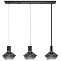 Ponzano 3 Light 28 inch Black Chrome Linear Pendant Ceiling Light