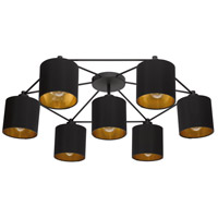 Black and Gold Steel Semi-Flush Mounts