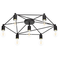 Staiti 7 Light 30 inch Black Semi Flush Mount Ceiling Light