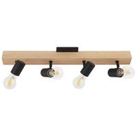 Eglo 98114A Kingswood 4 Light Black/Natural Track Light Ceiling Light