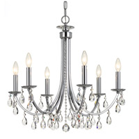 Crystal 6 Light 26 inch Chrome Chandelier Ceiling Light